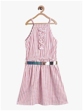 Tales & Stories Red Cotton Sleeveless Knee Length Princess Frock ( Pack of 1 )