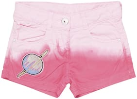 Tales & Stories Girl Cotton Floral Hot pants - Pink