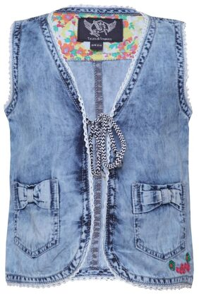 Tales & Stories Girl Denim Solid Sweater - Blue