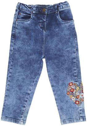 Tales & Stories Baby Girls Medium Blue Slim Fit Embroidered Jeans [I155711-36M-MB]