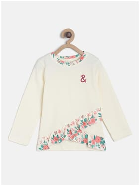 Tales & Stories Girl Cotton Floral T shirt - White