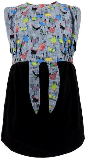 Tales & Stories Grey Cotton Sleeveless Knee Length Princess Frock ( Pack of 1 )
