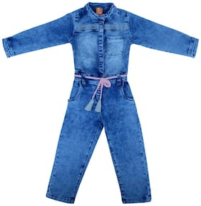 Tales & Stories Baby girl Cotton blend Solid Jumpsuit - Blue