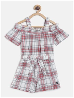 Tales & Stories Baby girl Cotton Checked Jumpsuit - Red