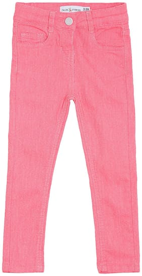 Tales & Stories Girl's Pink Neon Cotton Slim-Fit Jeans