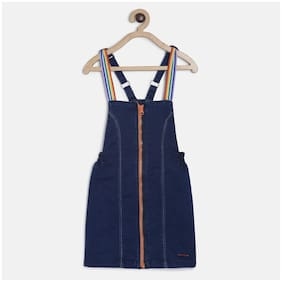 Tales & Stories Cotton Solid Dungaree For Girl - Blue