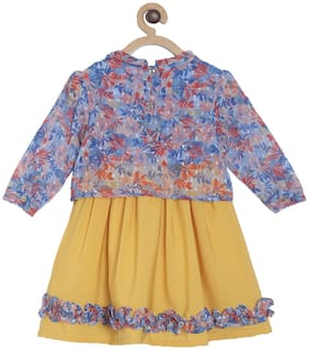 Tales & Stories Yellow Cotton Full Sleeves Midi Princess Frock ( Pack of 1 )