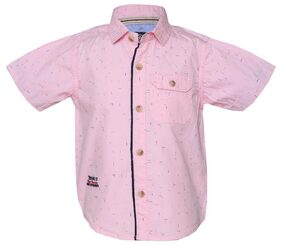 Tales & Stories Baby Boy Cotton Solid Shirt Top - Pink