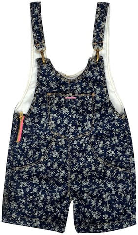 Tales & Stories Cotton blend Floral Dungaree For Girl - Blue