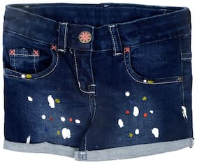 Tales & Stories Girl Cotton blend Printed Hot pants - Blue