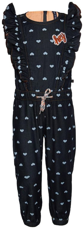 Tales & Stories Cotton Printed Romper For Girl - Black