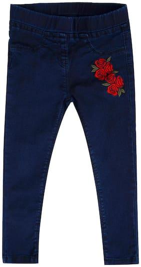 Tales & Stories Girls Dark Blue Slim Fit Cotton Flower Embroidered Jeggings