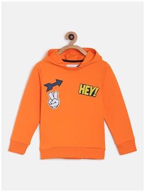 Tales & Stories Boy Cotton blend Solid Sweatshirt - Orange