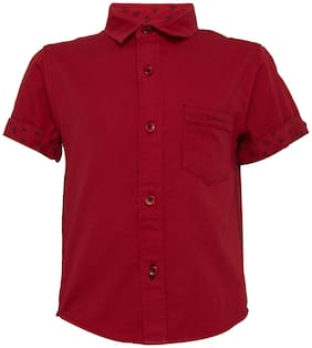 Tales & Stories Boy Cotton Solid Shirt Red