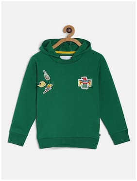 Tales & Stories Boy Cotton blend Solid Sweatshirt - Green