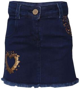 Tales & Stories Girl Denim Solid A- line skirt - Blue