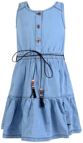 Tales & Stories Girls Light Blue Solid Pleated Denim Dress