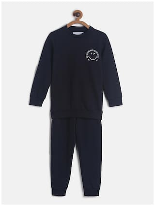 Tales & Stories Poly Cotton Navy Blue Solid Top & Pyjama Set  For Boy