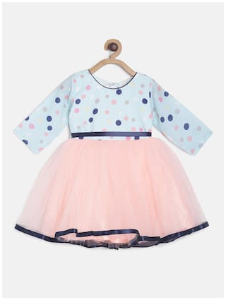 Tales & Stories Blue Polyester 3/4th Sleeves Midi Princess Frock ( Pack of 1 )
