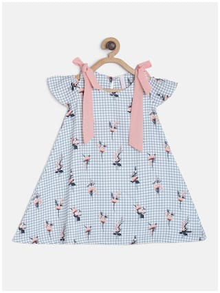Tales & Stories White Cotton Short Sleeves Midi Princess Frock ( Pack of 1 )