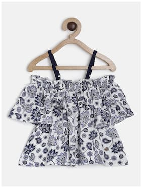 Tales & Stories Cotton Floral Top for Baby Girl - Grey