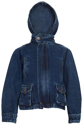 Tales & Stories Boy Denim Solid Winter jacket - Blue