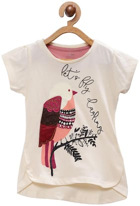 Tales & Stories Girl Cotton Printed T shirt - Beige