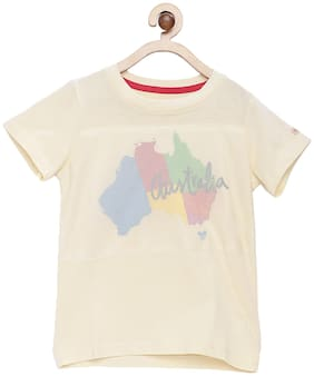 Tales & Stories Cotton Printed T shirt for Baby Boy - Yellow
