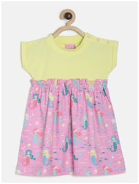 Tales & Stories Pink Cotton Short Sleeves Knee Length Princess Frock ( Pack of 1 )