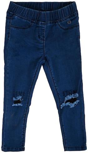 Tales & Stories Girls Medium Blue Slim Fit Cotton Printed Jeggings