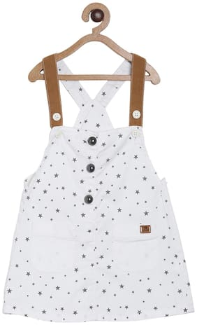 Tales & Stories Cotton Printed Dungaree For Girl - White