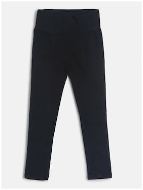 Tales & Stories Girl's Black Cotton Solid Slim-Fit Jeggings
