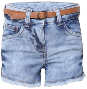 Tales & Stories Girl Denim Acid wash Denim shorts - Blue