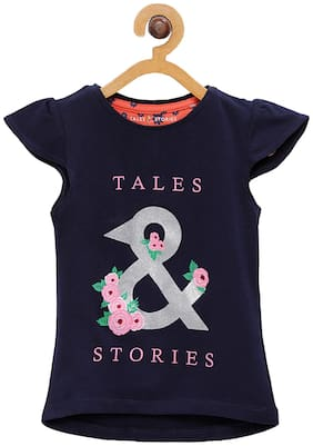 Tales & Stories Cotton Printed T shirt for Baby Girl - Blue