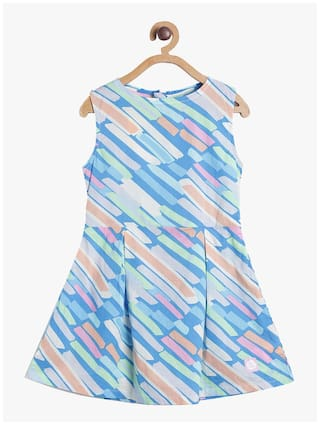 Tales & Stories Blue Cotton Sleeveless Knee Length Princess Frock ( Pack of 1 )