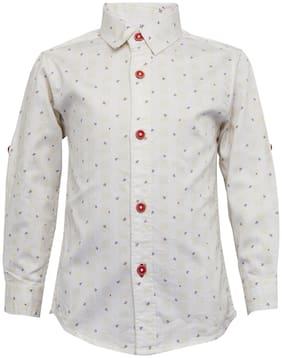Tales & Stories Boy Cotton Floral Shirt White