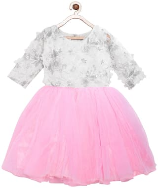 Tales & Stories White Cotton 3/4th Sleeves Midi Princess Frock ( Pack of 1 )