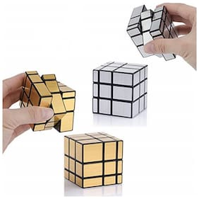 TamBoora Combo of Golden Mirror & Silver Mirror Puzzle Cube