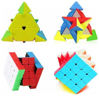 TamBoora Combo Of Pyramid Triangle And 4x4x4 stickerless cube (2 Pieces)