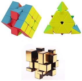 TamBoora Combo of 3x3x3;pyramid Triangle & Golden Mirror Smooth Puzzle Cube.