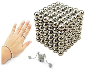 Techamazon Magnetic Balls (Intelligence develop and Stress Relief, Stress  silver Ball) - size 5mm-  216 pieces for customized jewellery making  set