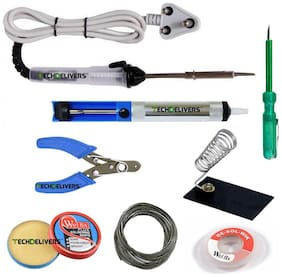 TechDelivers Electric 8in1 25W Soldering Kit | Iron;Paste;Wire;DeWick;Cutter;Stand;Pump;Tester