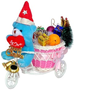Teddy Santa Bring Christmas Gift For You on Cycle