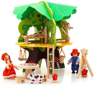 TEMSON Amazing Wooden 3D Puzzle Tree Doll House Toys with Furniture and Miniature Dolls