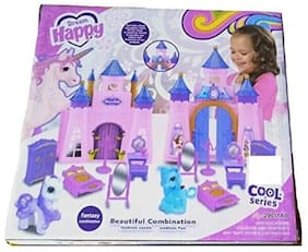 TEMSON Big Size Musical Princess Castle Doll House with Accessories Toy for Baby Girl (29011AB)