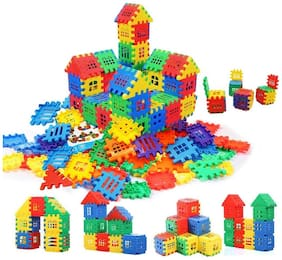 TEMSON Creative Multi Colored Jumbo Happy Home Building Blocks with Attractive Windows and Smooth Rounded Edges for Kids (Assorted Color) (72 pcs)