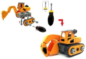TEMSON DIY Dissembled Assembled Excavator Construction Vehicle Educational Building Block Toy with Screw Driver For Kids (Small)
