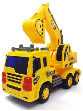 TEMSON Friction Powered Yellow Construction Truck Toy with Light, Sound,Music for Kids Boy & Girls
