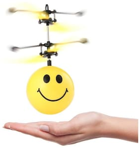 TEMSON Happy Smiley Sky Ball Emoji Infrared Sensor Ball, Smiley Helicopter Fly Ball Toy with Colorful Lights For Kids (Assorted Models)
