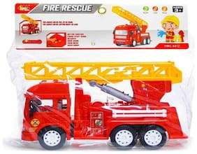 TEMSON Multi Colored Big Size Friction Powered Realistic Fire Rescue Truck Toy with Light and Musical